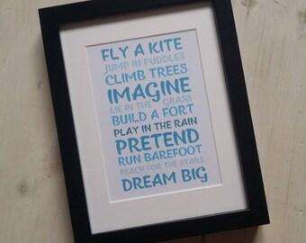 New Baby Present - Fly A Kite - new baby gift, birthday gift, christening present, personalised custom manifesto frame