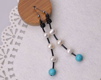 Stainless Steel White Freshwater Pearls Dangle Earring,Handmade Drop Pearls Earrings for Women Blue Turquoise Beads Jewelry