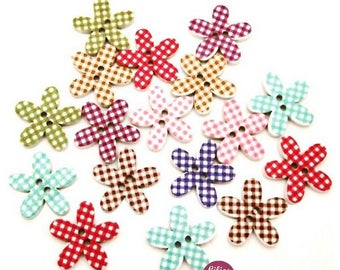 10 beautiful painted flowers gingham 2 cm - 2 holes wooden buttons