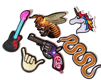 Set of 6 embroidered patches lot heat-sealed patches snake, Unicorn, guitar...