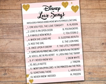 Disney Love Quotes Bridal Shower Game Games Wedding