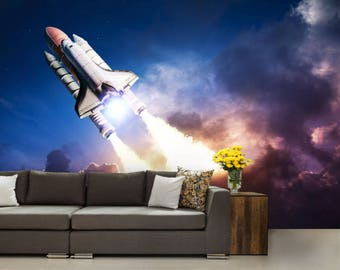 space shuttle wallpaper, space shuttle wall mural, space shuttle wall decal, sky wallpaper, sky wall mural, sky wall decal, racket wallpaper