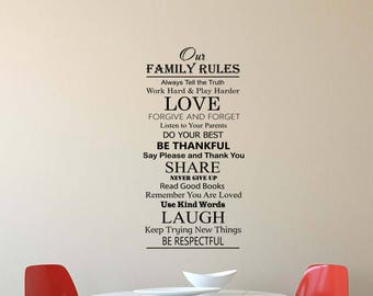 Family Rules Decal Etsy - House rules wall decals