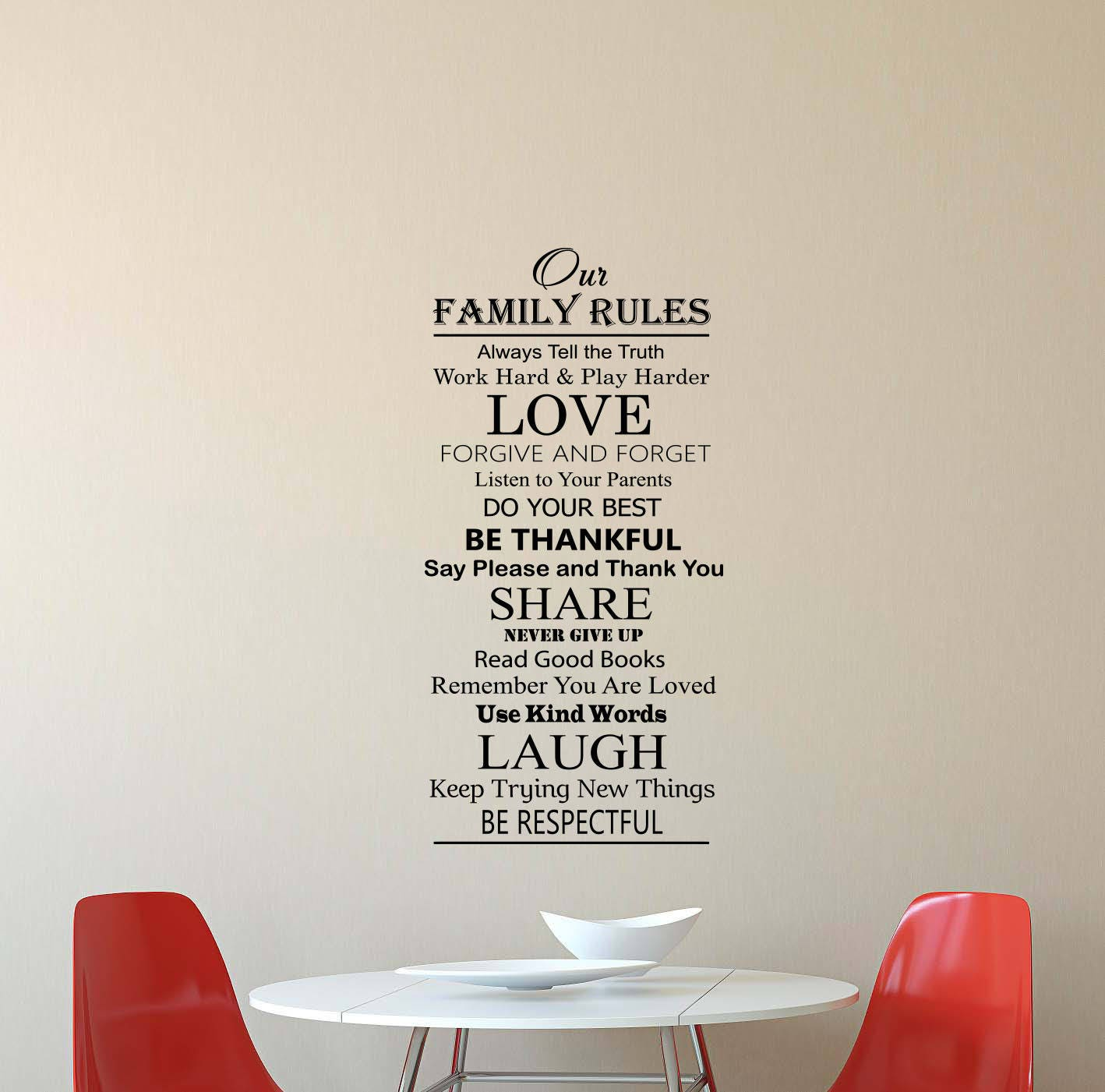 Family Rules Wall Decal House Rules Quote Lettering Vinyl - House rules wall decals