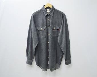 "Karl Helmut Vintage Karl Helmut ""Blame It On My Youth"" Button Down Double Pocket Long Sleeve Denim Shirt Size L"