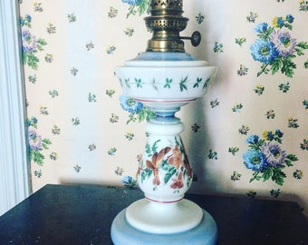 Milk glass oil lamp. Blue. Flowers. Brown. 1920 s. painted by hand. antique french.