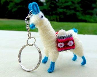 White Tiny Llamas With Colorful Feet; Mini Alpacas; Alpaca Key-chains; Pocket Alpaca Key-chain; Tiny Andean Llamas; Miniature Alpacas