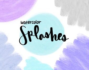 WATERCOLOR SPLASHES CLIPART, clip art, cute, doodles, clipart, doodle clipart, hand-drawn clipart, splashes clipart, stickers, watercolor