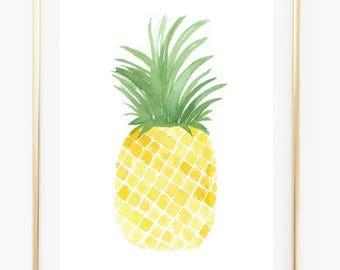 Pineapple - Watercolor Art Print, pineapple art print, tropics, trending now, pineapple decor, wall art pinterest
