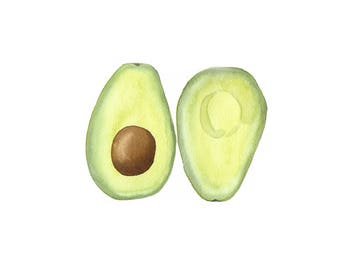 "Avocado 9""x 12'' - Original Watercolor Painting"