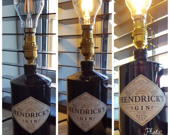 Upcycled Hendricks 70cl Gin bottle with Vintage globe bulb.