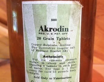 Vintage Veterinary Medicine Bottle, Antique Veterinary Medicine Bottle, Akrodin Tablets, Vintage Bottle, Antique Bottle, Glass Bottle