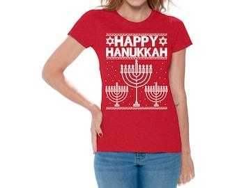 Happy Hanukkah Shirts Happy Hanukkah Tshirts for Women Jewish Holiday Shirt Jewish Holiday T shirt His Gifts Idea for Hanukkah Jewish Shirt