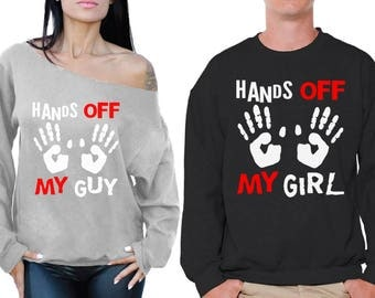 Valentine's Day Couple Boyfriend Girlfriend Matching Sweatshirts Hands Off My Girl/Guy Couple Sweaters Funny Matching Couple Gifts