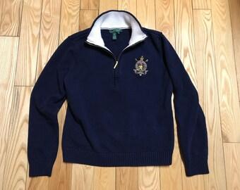 Ralph Lauren 1/2 Zip up sweater Womens large Navy blue and Gold queen logo New condition Designer sweater Polo fleece