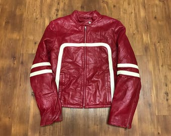 Vintage leather jacket 1990's Wilson red Biker jacket Red and white stripes womens medium Maxima leather motorcycle jacket