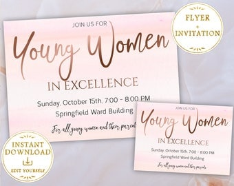Young Women in Excellence Invitation + Flyer Editable PDF Template Rose Gold, LDS, Young Women invite, PRINTABLE
