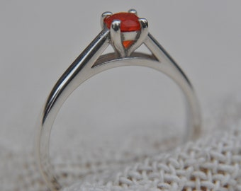 Fire Opal Sterling Silver Ring Hallmarked