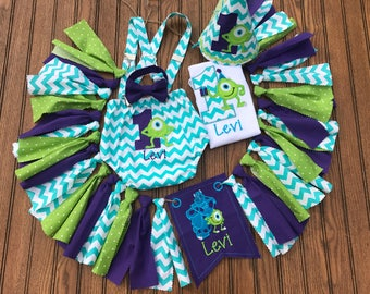 Monsters inc cake smash birthday outfit