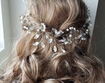 Bridal silver hair band - Holly