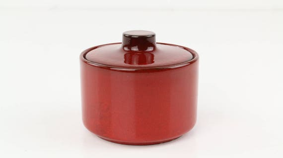 Vintage Melitta ceracron earthenware sugar pot in red German pottery