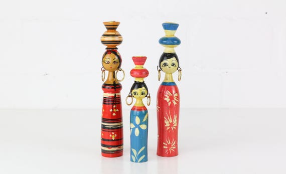 "Vintage wooden Toy ""women""-Rare Fund vintage Toys"