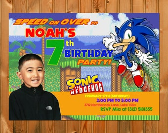 SONIC the HEDGEHOG BIRTHDAY Invitation - Sonic invitation, Sonic party, Sonic birthday, Custom Design Invitation, Printable Digital File