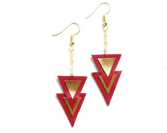 "Earrings ""Nakam"" leather gold and raspberry"