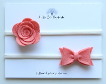 Set of 2 Wool Felt Rose and Bow - Papaya - Baby Headband - Nylon Headband
