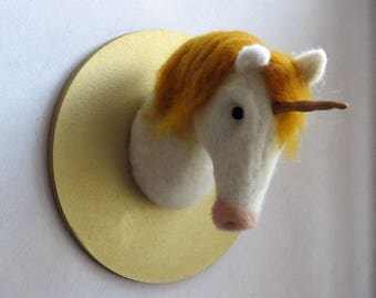 Tap felted Unicorn head.