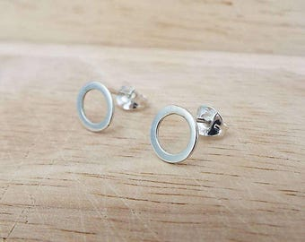 Silver Circle Stud Earrings. Loved and Worn Everyday. Sterling silver. Handmade in Scotland. Free UK delivery