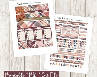 Fall Orchard September Printable Planner Stickers/Monthly Kit/For Use with Erin Condren/Cutfiles Fall July Glam Apple Pie Orchard Rose Gold