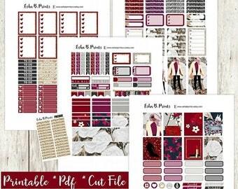 Boss Lady Printable Planner Stickers/Weekly Kit/For Use with Erin Condren/Cutfile Fall Semester  Glam Fashion Designer Glitter Garnett TN