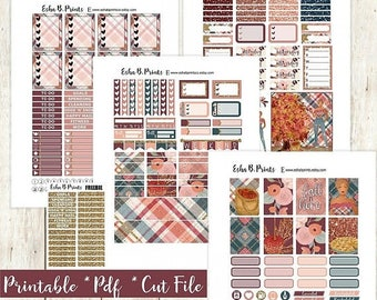 Fall Orchard Dark Printable Planner Stickers/Weekly Kit/For Use with Erin Condren/Cutfile Fall September Glam Apple Pie Plaid Rose Gold