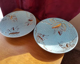Pair of Rare 1950s Wade Golden Turquoise Plates