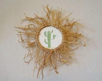 Cadre en raphia Aquarelle cactus encadrée / décoration forme soleil / été / végétal
