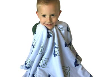 Seattle Seahawks Fan Baby 12's Minky Dot Ultimate Fan Blanket, Navy and Lime Green makes the perfect Christmas Gift -ships same day