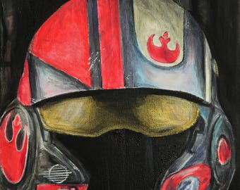 Star Wars Painting - Poe Dameron X Wing fighter helmet - original 10x8 inch box canvas