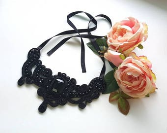 Black Soutache statement necklace