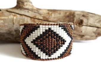 Brown and white woven Cuff Bracelet