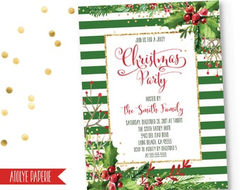 Christmas Party Invitation, Christmas Party Invite, Holiday Party Invite, Striped Christmas Invitation,Floral Christmas Party Invite,Holiday