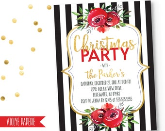 Christmas Party Invitation, Christmas Party Invite, Holiday Party Invite, Office Holiday Invitation,Floral Christmas Party Invite,Holiday