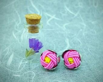 Silver Mizuhiki Flower Earrings