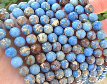 8mm Impression Jasper, impression jasper beads, blue jasper beads, 8mm jasper beads, blue jasper, 8mm blue jasper, jasper beads, Mala beads