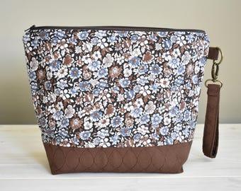 Blue Flowers - Medium Zippered Project Bag for Knitting or Crochet