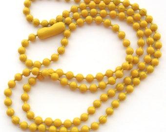 1 Vintage Ocher Enameled Ball Chain Necklace,  18 Inch, Petite 2 mm Balls, Mustard, Ochre Enamel, Dainty Ball Chain Necklace, Bead Destash