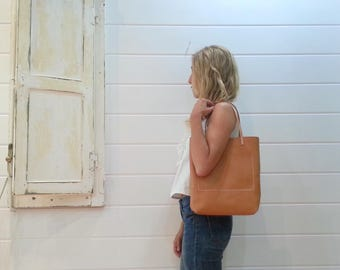 Camel leather handmade tote bag