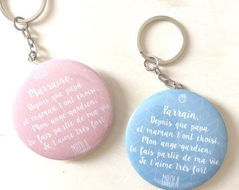 Personalized Keychain for Godfather, godmother, MOM dad, for the whole family