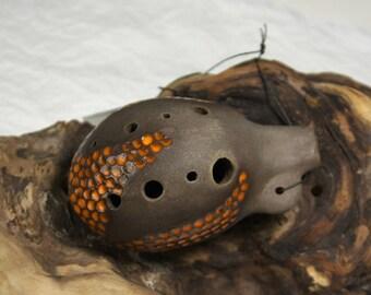 Ceramic handmade ocarina G-dur, musical traditional instrument, 8 holes