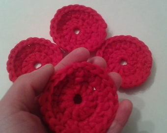 Nylon Tulle Netting Dish Scrubbies-Sets of 2-8-Red-Handmade Pot Scrubbers